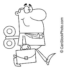 Outlined Businessman - Coloring Page Outline Of A Windup...