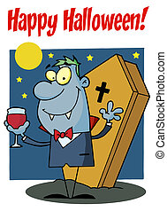 Halloween Greeting Over A Vampire