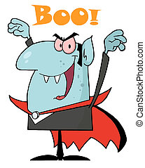Blue Vampire Yelling Boo And Holding Up His Arms
