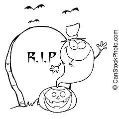 Halloween Ghost - Coloring Page Outline Of A Halloween Ghost...