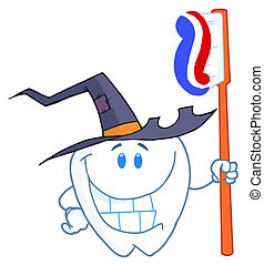 Halloween Tooth With Toothbrush - Happy Smiling Halloween...