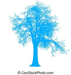 tree leafless side view silhouette isolated - blue - vector...