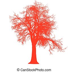 tree leafless side view silhouette isolated - red - vector...