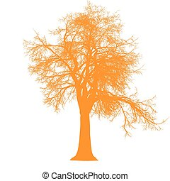 tree leafless side view silhouette isolated - orange -...