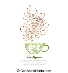 tea house concept - Tea time, tea house. Cup and aroma with...
