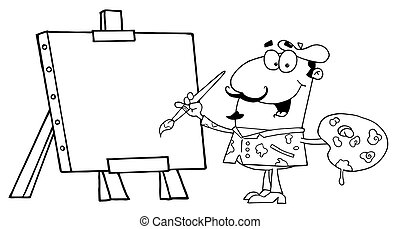 Painter - Outlined Man Painting On Canvas
