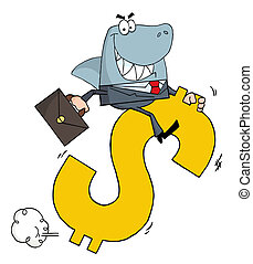 Shark Businessman Riding On A Hopping Dollar Symbol