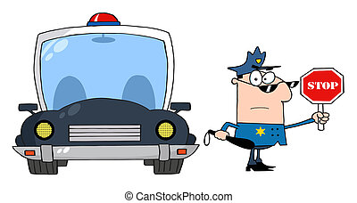 Traffic Police - Caucasian Police Officer Holding A Stop...