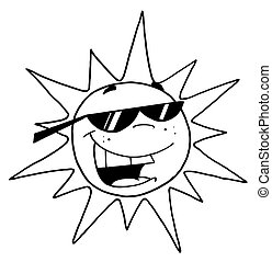 Black And White Outline Sun - Black And White Outline Of A...