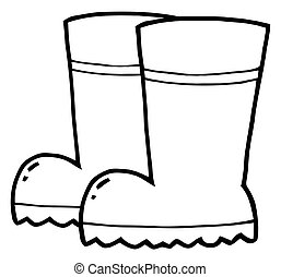 Gardening Rubber Boots - Coloring Page Outline Of A Pair Of...