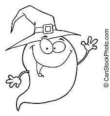 Outlined Ghost  - Outlined Happy Halloween Ghost Flying