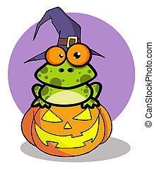 Frog Cartoon Character - Spotted Frog Wearing A Witch Hat...