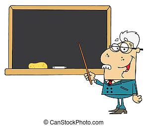 Senior Male Professor - Senior Male School Teacher Pointing...
