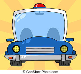 Illustration Police Car - Frontal View Of A Blue Cop Car...