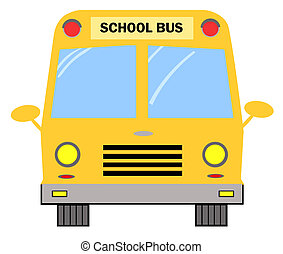 School Bus - Frontal View Of A Yellow School Bus