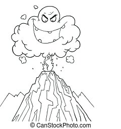 Erupting Volcano - Coloring Page Outline Of An Evil Ash...