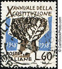 X aniversary of Italian constitution - ITALY- CIRCA 1958: A...