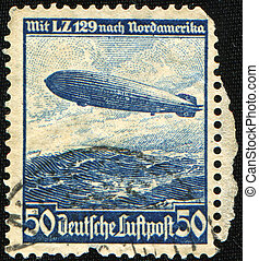 zeppelin, LZ, 129, sobre, norte, América