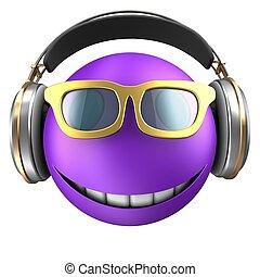 3d violet emoticon smile - 3d illustration of violet...