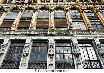 Valladolid - Old architecture in Valladolid, Spain. Windows...