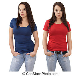 Female with blank red and blue shirts - Young beautiful...