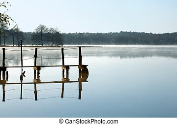 Serene lake - Rustic jetty on a zen-like idyllic lake in...