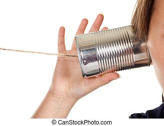 telefone, chamada, lata