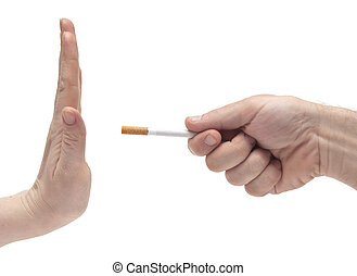 Hand saying no thanks to proposed cigarette - non smoking...