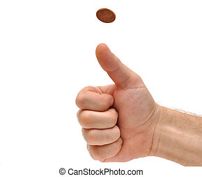 Mans hand throwing up a coin to make a decision on white