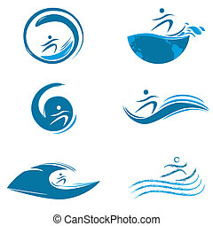 water sports - illustration of water sports on white...