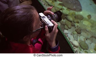 Girl takes pictures of colorful underwater world stock...