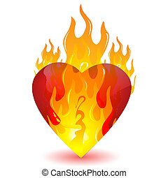 burning heart - illustration of burning heart on white...