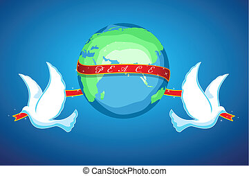 world peace - illustration of world peace with globe and...