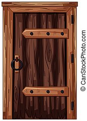 Wooden door in old fashioned style illustration
