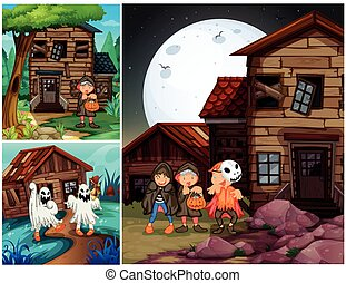 Three scenes with kids in halloween costumes illustration