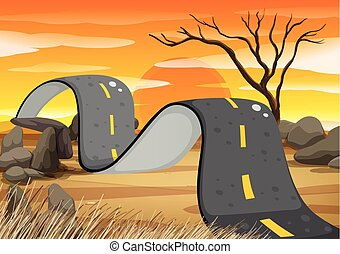 Bumpy road in the field illustration