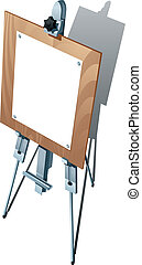 Easel - Tripod with blank paper on white background. Vector...