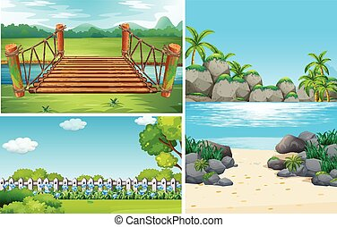 Three nature scenes at day time illustration