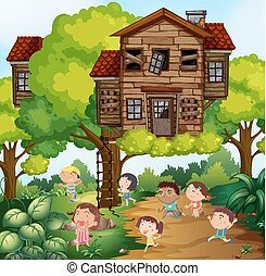 Children and treehouse in the park illustration