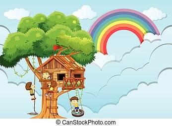 Children playing on treehouse  illustration
