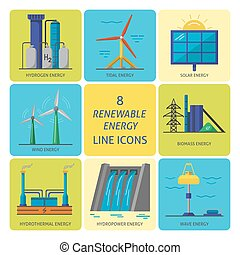 Set of renewable energy flat style icons - Collection of...