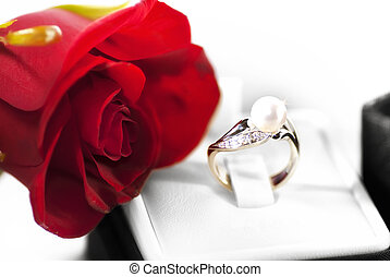 Valentine present - Silver ring and rose for Valentine day