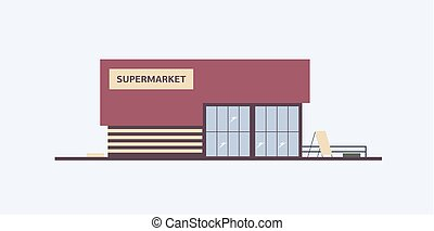 Building of supermarket, grocery store or food market with...
