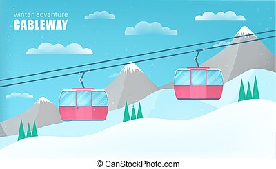 Pink cable cars moving above the ground against winter...