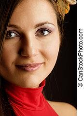 Close up portrait of beauty woman
