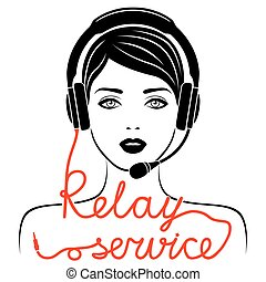 Relay service concept - Girl in headphones with microphone...
