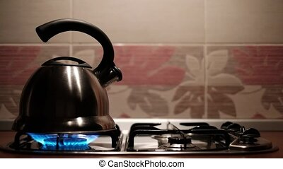 Metal kettle boiling with steam emitted from spout. Man...
