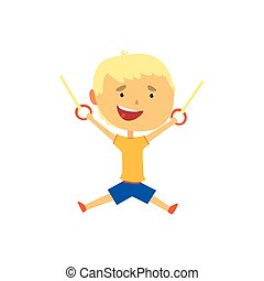 Happy boy hanging on gymnastic rings, kids physical activity...