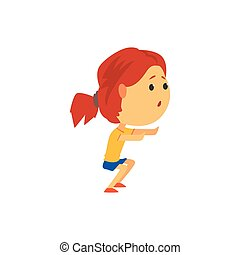 Cute sportive girl squatting, kids physical activity cartoon...