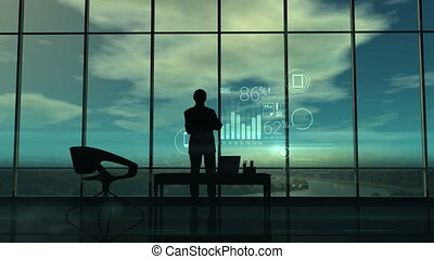 Silhouette of the man in the office and corporate...